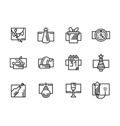 Simple line New Year icons set vector image vector image