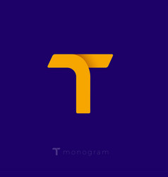 t origami logo yellow monogram vector image