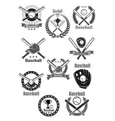 baseball club awards template icons set vector image