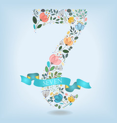 floral number seven with blue ribbon vector image vector image