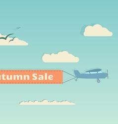 Flying plane with autumn banner vector image