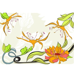 greeting vintage card with flowers vector image vector image