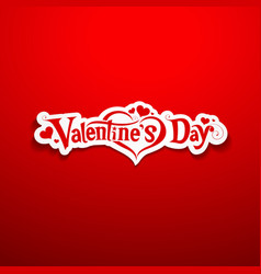 Happy Valentine Day lettering on red background vector image vector image