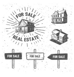 real estate silhouette logotypes vector image vector image