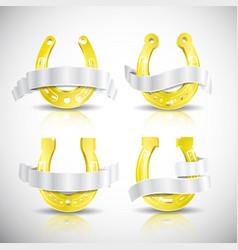realistic gold horseshoe icon set vector image