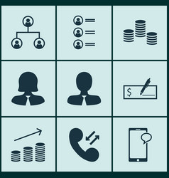 set of 9 hr icons includes bank payment cellular vector image vector image
