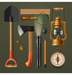Set of camping hiking equipment vector