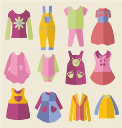 set with collection of childrens clothing vector image
