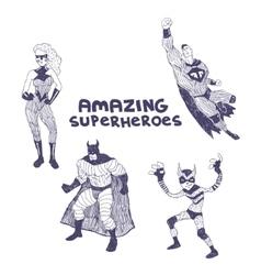 Superheros drawings set vector image vector image