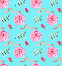 Watercolor rose and worm in vintage style vector image