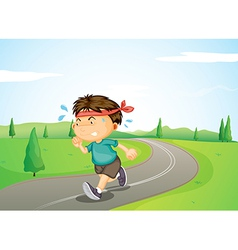 A boy jogging vector