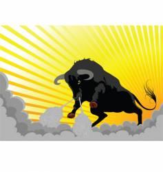 aggressive bull vector image