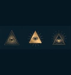 All seeing eye illuminati symbol vector