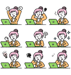 Analog style pop working woman and laptop pc vector