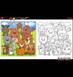 animal characters group coloring book page vector image