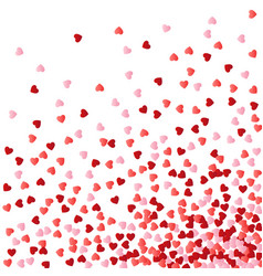 background with red and pink falling hearts vector image