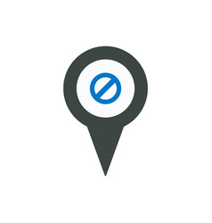 ban deny location marker pin place point icon vector image