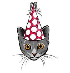 birthday cards set with cute cartoon cats vector image