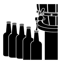Black beer bottles filling up icon vector