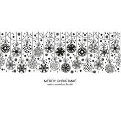 black seamless snow flake border white background vector image