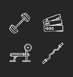 bodybuilding chalk white icons set on black vector image