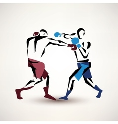 Boxing couple silhouette stylized sketch vector