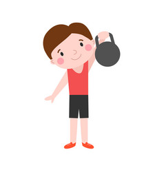boy with dumbbells fitness attractive kid healthy vector image