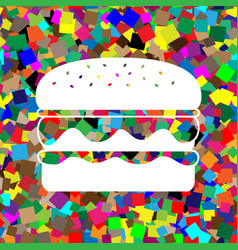 Burger simple sign white icon on colorful vector