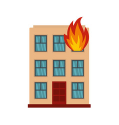 Burning house icon flat style vector