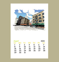 Calendar sheet layout august month 2021 year vector