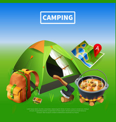 camping realistic colored poster vector image