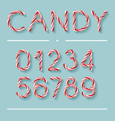 Candy cane font - numbers vector