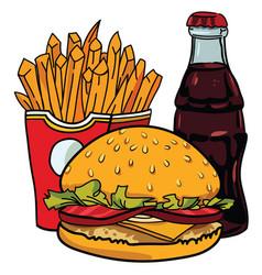Cartoon image of junk food cola drink vector
