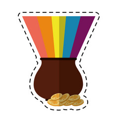 cartoon st patricks day cauldron rainbow with vector image