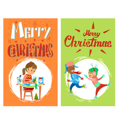 christmas holidays children new year activities vector image