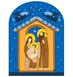 Christmas nativity scene holy family and angels vector