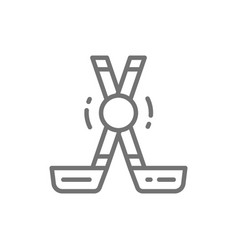 clubs and puck sports equipment line icon vector image