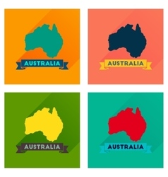 Concept flat icons with long shadow australia map vector