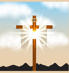 cross inri and bright light sky radiant vector image