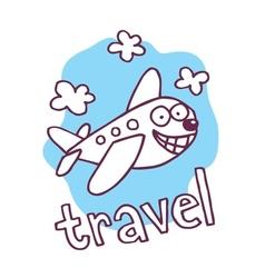Cute cartoon airplane mascot vector