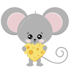 Cute mouse and heart shape piece cheese in paws vector
