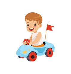 Cute smiling boy riding toy car vector