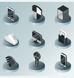 cybersecurity color isometric icons vector image