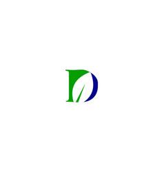 d letter leaf logo vector image