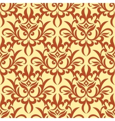Damask seamless pattern with orange ornament vector image