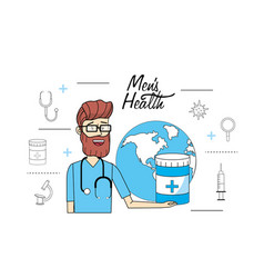 Doctor with global planet to mens health vector