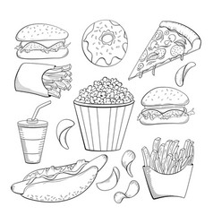 doodle style various fast foods collection vector image