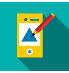 Drawing in mobile app icon flat style vector