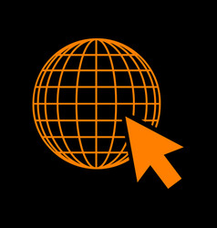 Earth globe with cursor orange icon on black vector