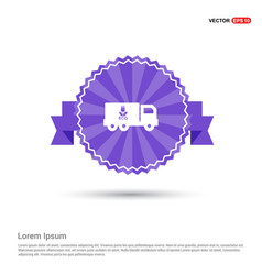 ecology truck icon - purple ribbon banner vector image